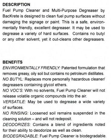 BacKrete FUEL Pump Cleaning Kit 6/qts cs w/1 microfiber cloth/sprayer