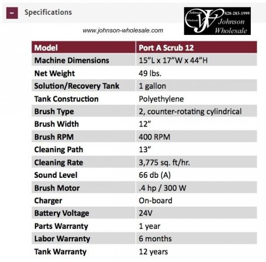 Minuteman M12BQP P12 Port A Scrub®12 Battery, 24v lithium-ion